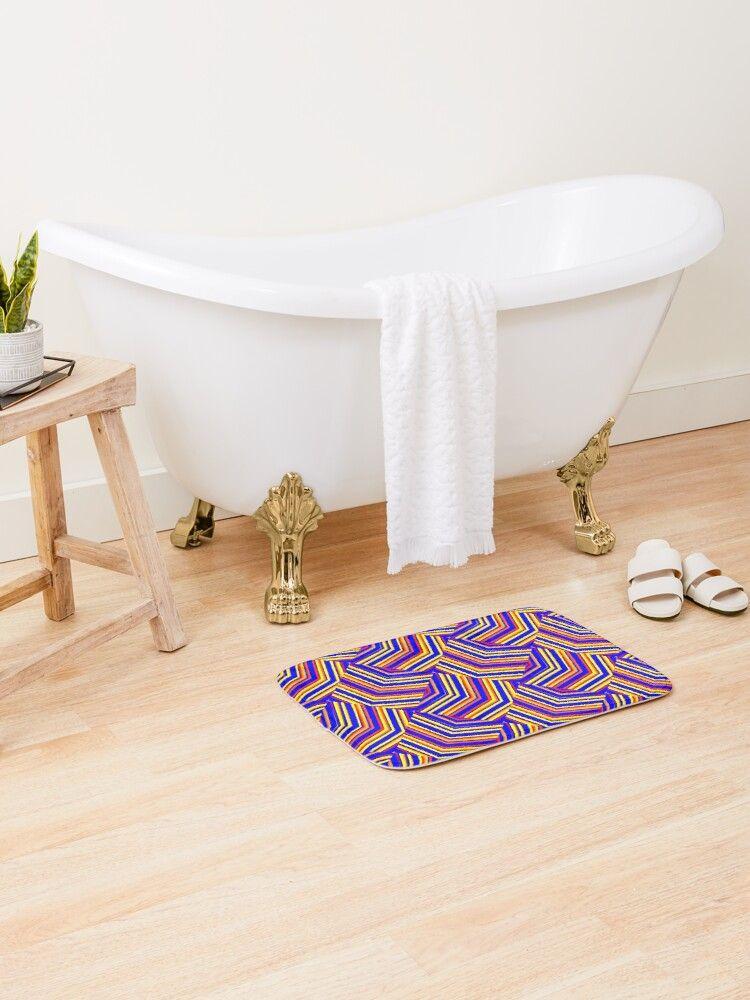 A Crimson Red and Yellow Diagonal Zig Zag Diamond Design Bath Mat. #redbubble #homedecor #bathmat #homeandliving #bedroomdesign