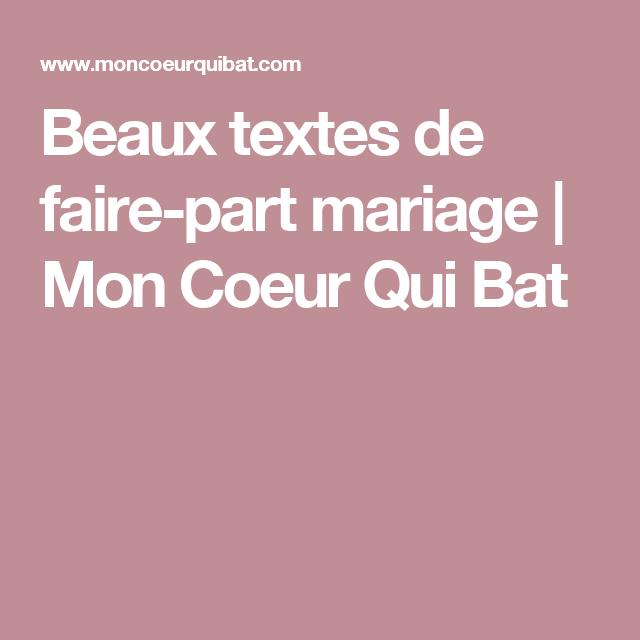 Beaux Textes De Faire Part Mariage Mon Coeur Qui Bat