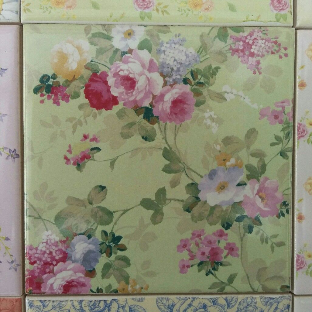 Pale Green Roses Pattern Ceramic Wall Tile Ceramic Wall Tiles Floral Tiles Wall Tiles