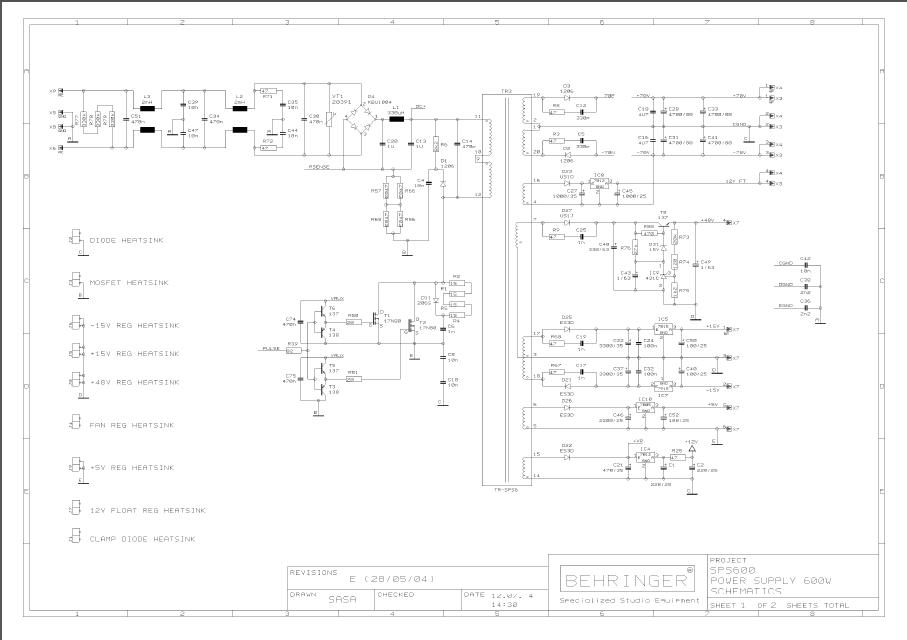 Behringer Sps600 Power Supply Rev E Schematics Power Supply Power Supply