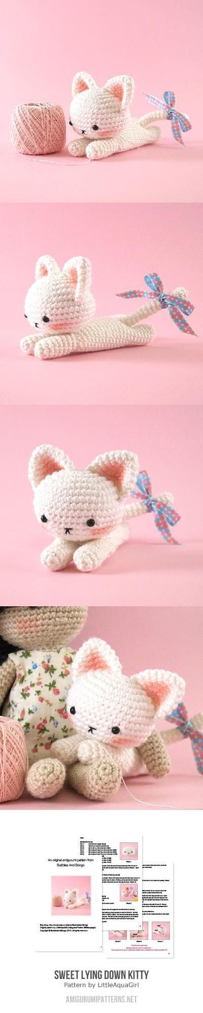 Sweet lying down kitty amigurumi pattern by LittleAquaGirl | Kleine ...