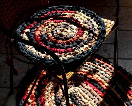 Crocheted Rag Rug Chair Pads Perfect Touch Crochet