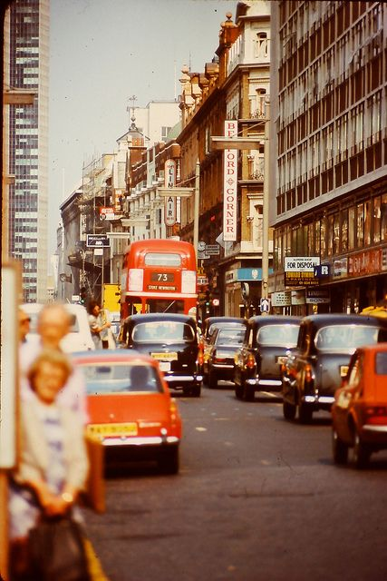 Tottenham Court Road in the 1970s, I used to love going up to London for days out, often went on busses and intaxis just like these