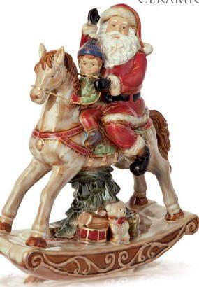 Cavallo A Dondolo Legno Natale.Cavallo A Dondolo Con Babbo Natale Creazioni Natalizie