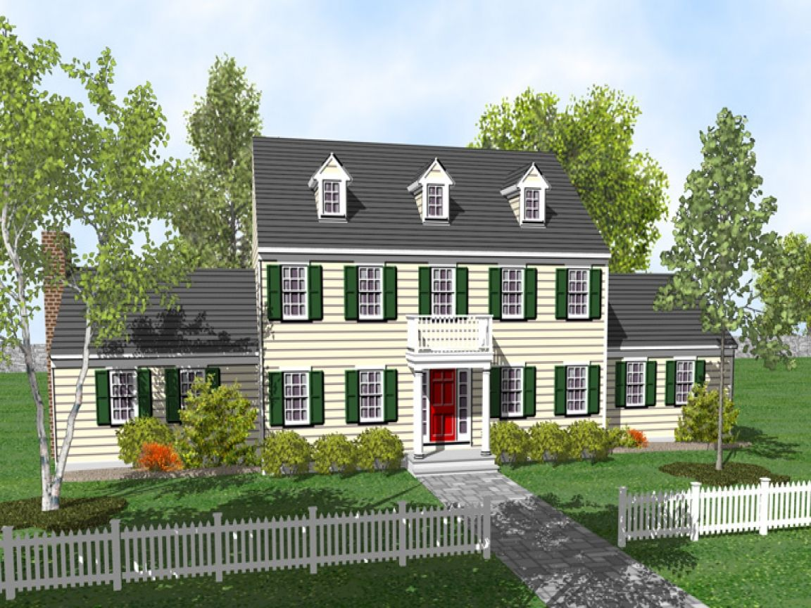 Colonial Story House Plans Symmetrical Two With Porch Lrg