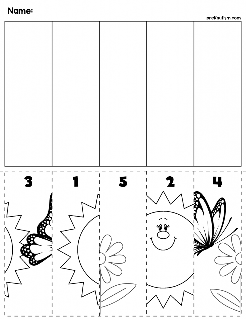 worksheet Preschool Cutting Worksheets free spring cut order worksheet number recognition worksheets numbers 1 5