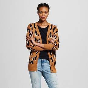 Women's Animal Print Boyfriend Cardigan Brown L - Mossimo Supply ...