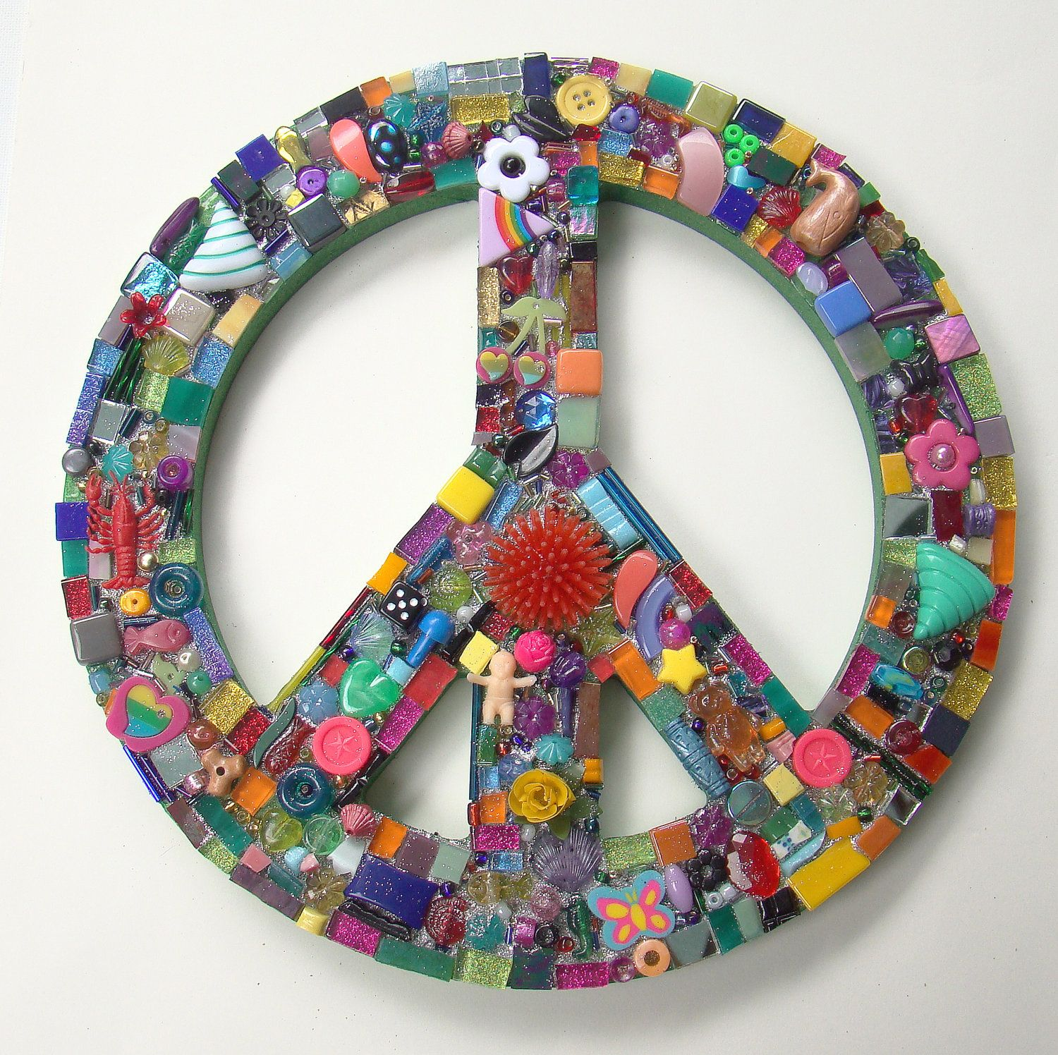 Peace Sign Wall Art funky found object mosaic peace sign retro wall art doodles