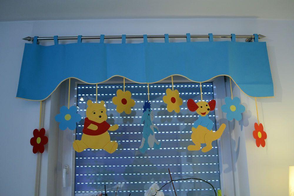 Vorhang Querbehang Fensterdeko Kinderzimmer Motiv Blau 140