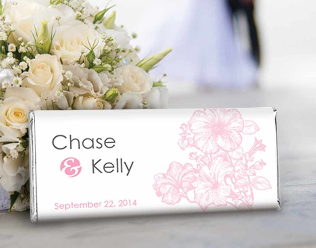 Pink Floral Spring Wedding Favors - Custom HERSHEY\'S Chocolate Bars ...