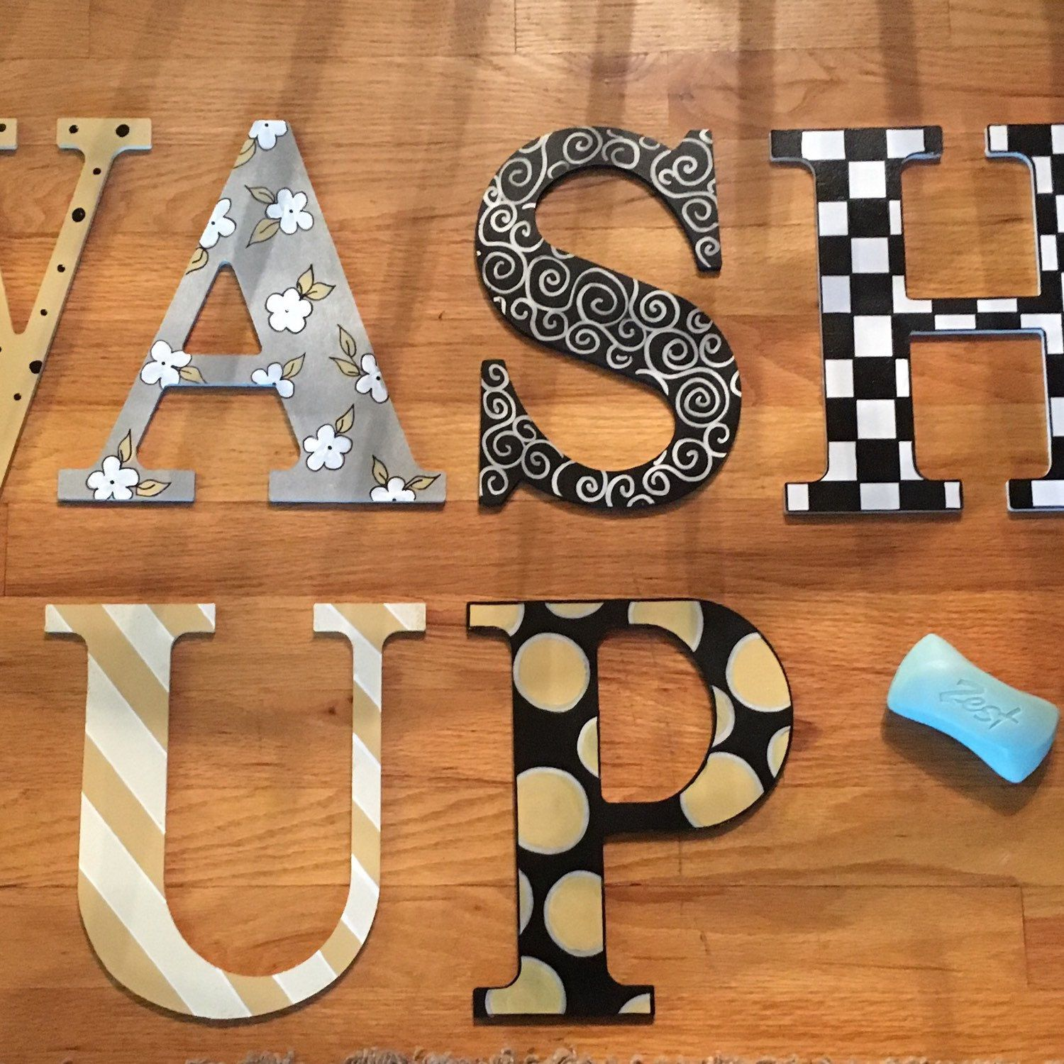 Painted Wood Letter Custom Painted Wood Letter Harlequin