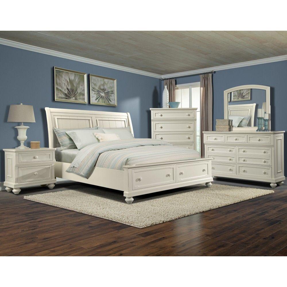 Key West Bedroom Bed Dresser Mirror King White 411066