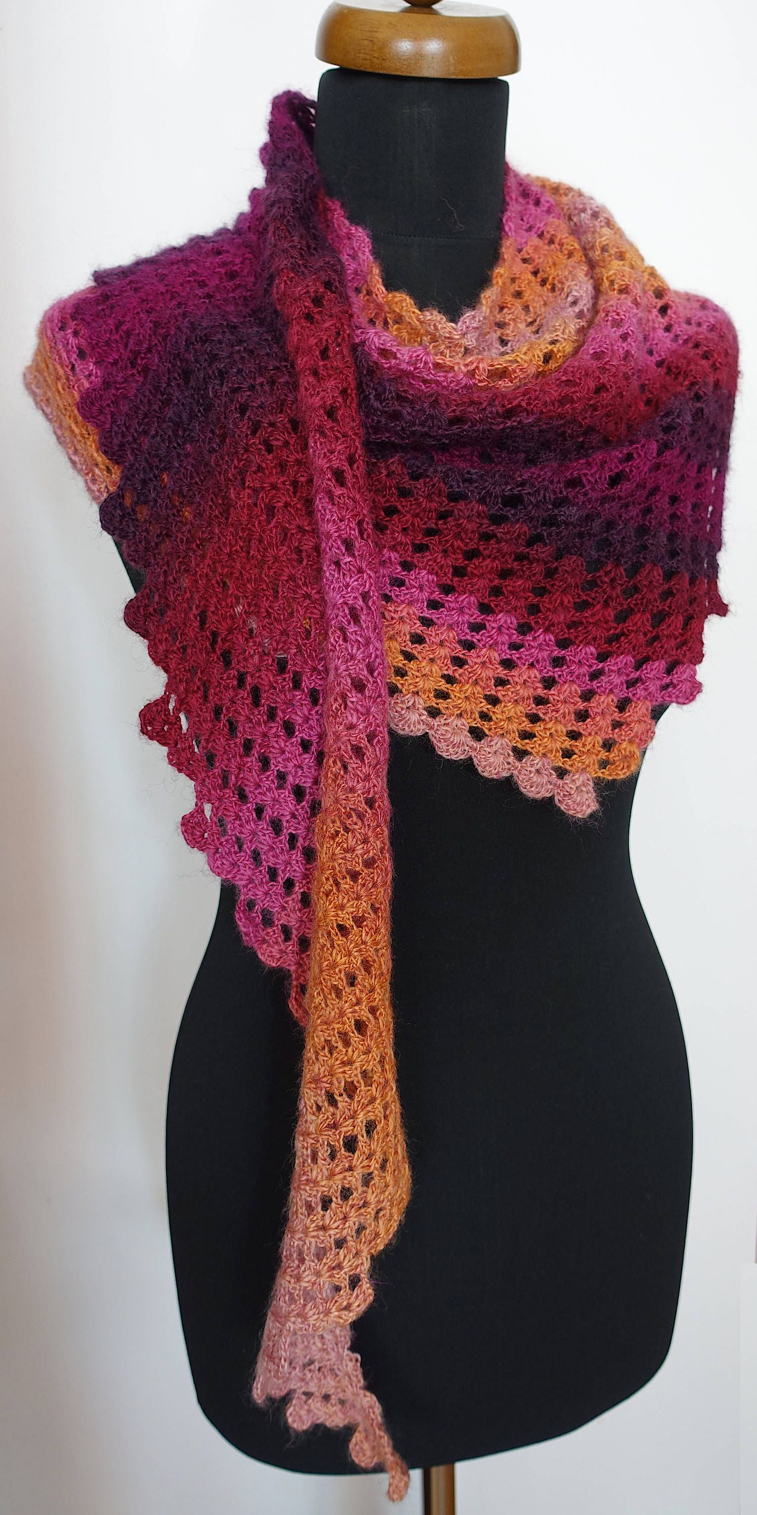 Purple And Pink Crochet Baktus Scarf For Women Rainbow Dragon Tail