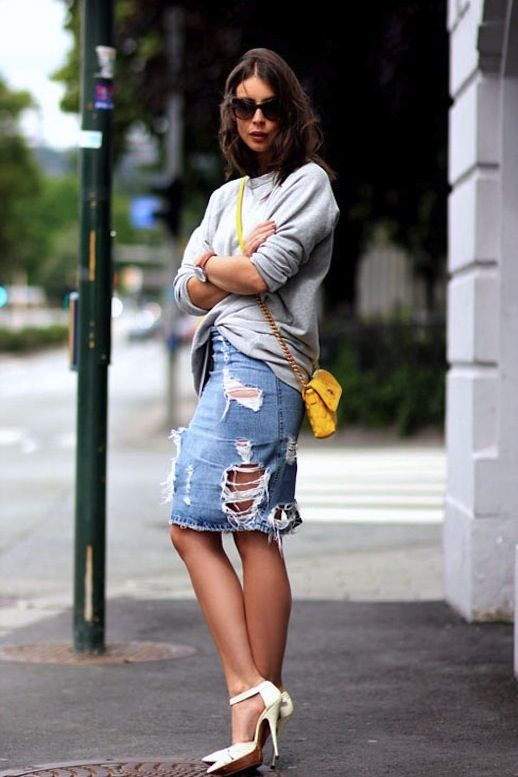 20 Modern Ways to Style a Denim Skirt for Spring - distressed   ...