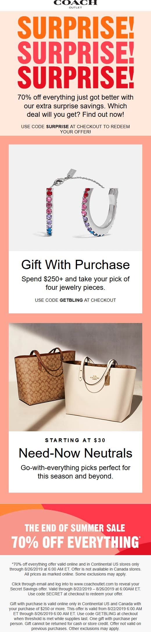 Coach Outlet 🆓 Coupons & Shopping Deals! Shopping coupons