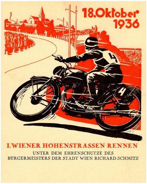 1936 German Road Racing Motorcycle Artwork Vintage Motorcycle Posters Racing Posters