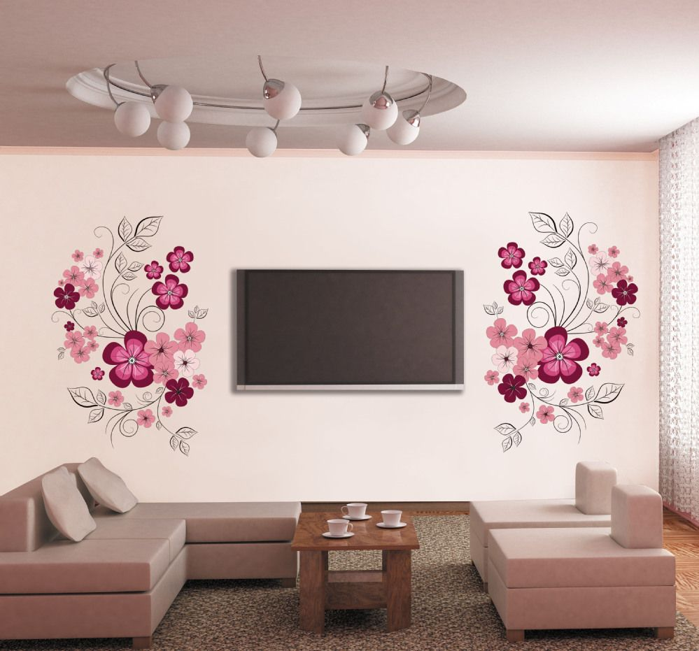 Decoraciones en vinil para salas sala living pinterest items similar to flower wall decals large flower decal red flower vinyl decals on etsy amipublicfo Gallery