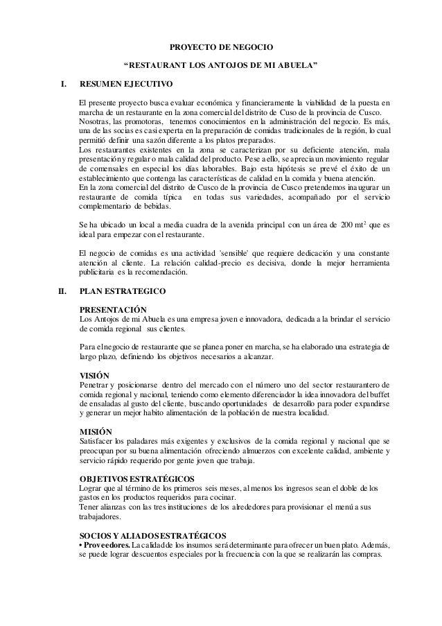 Proyecto De Negocio Restaurant Los Antojos De Mi Abuela I Resumen Ejecutivo El Presente Proyecto Busca Resumen Ejecutivo Negocios Estados Financieros