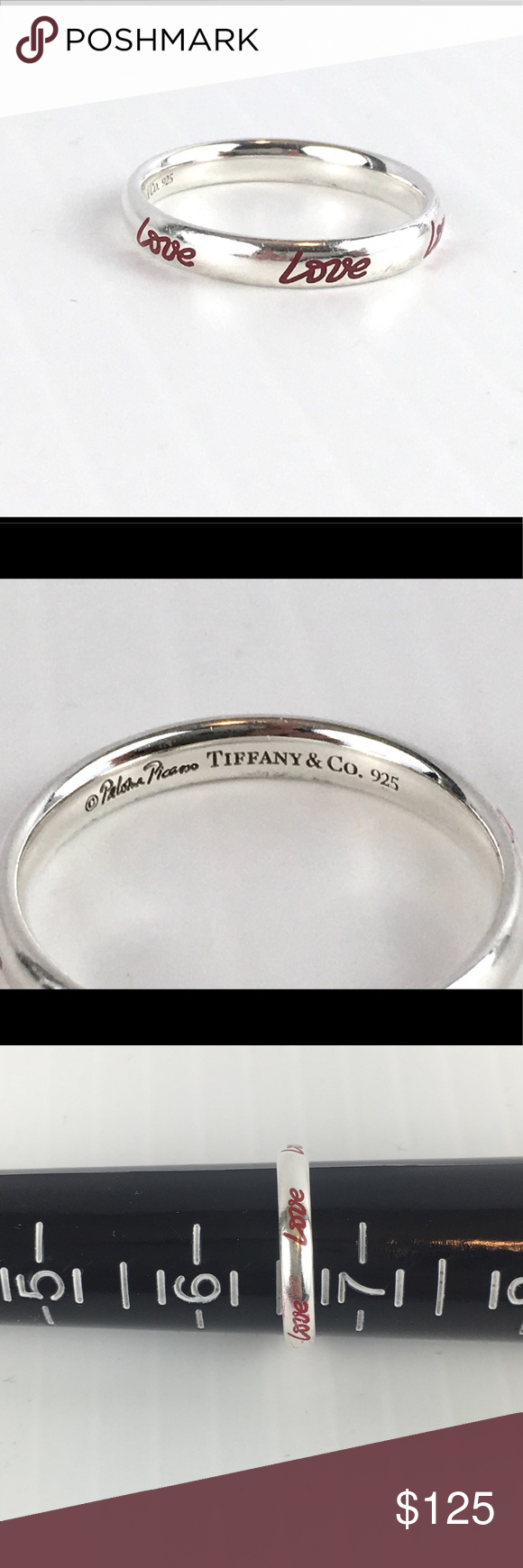 Tiffany silver 925 ring paloma picasso tiffany picasso red graffiti love ring good condition size 6 5