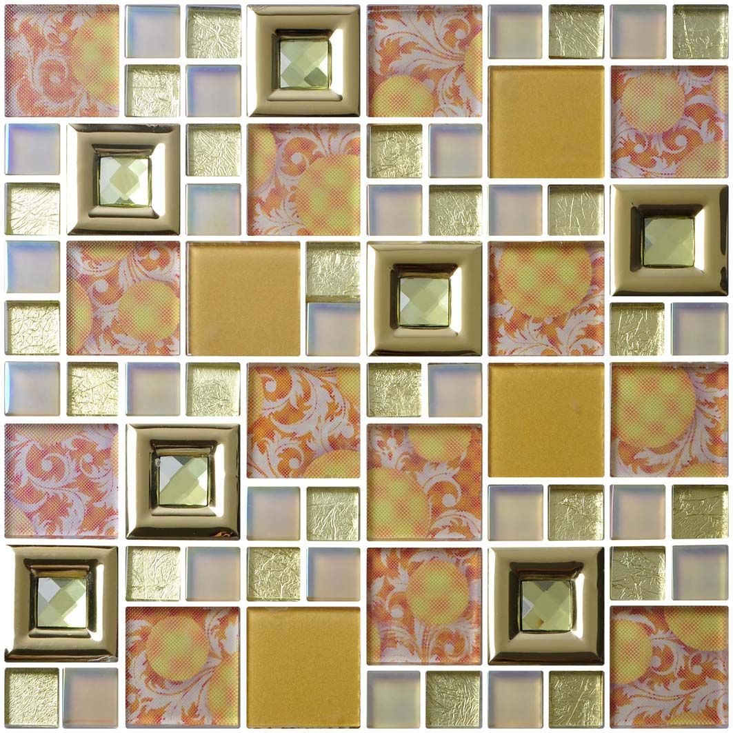 - 3D Gold Glass Mosaic Tile For Bathroom And Kitchen Glass Mosaic