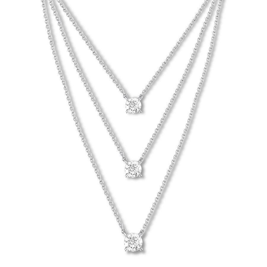 c82c30bf1d7 Layered Three-Stone Diamond Necklace 1 ct tw 14K White Gold - 173856509 -  Kay
