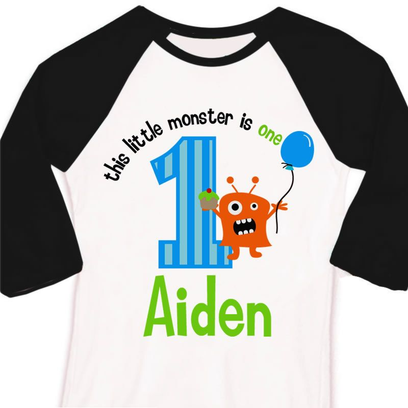 dbcbf7868 monster birthday party shirt little monster themed birthday party 3/4 raglan  t-shirt. $22.50, via Etsy.