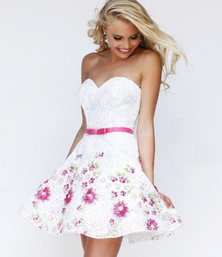 Adorable white lace cocktail summer dress with pink floral details ...