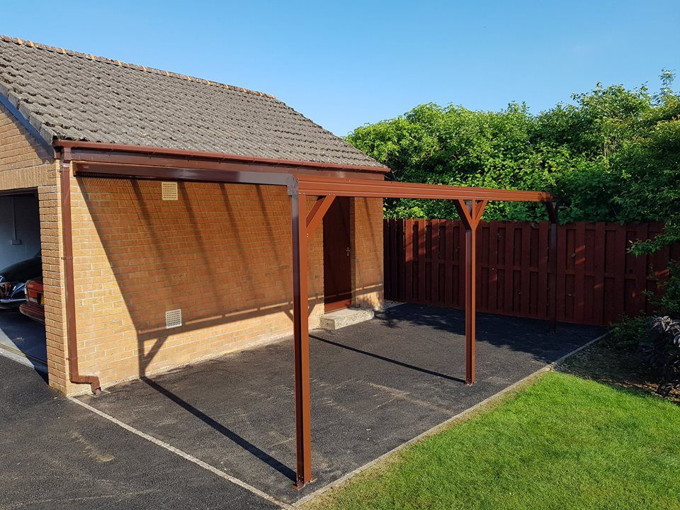 Small Carport Made From A Brown Omega Canopy With Knee Braces In 2020 Carport Canopy Carport Carport Patio