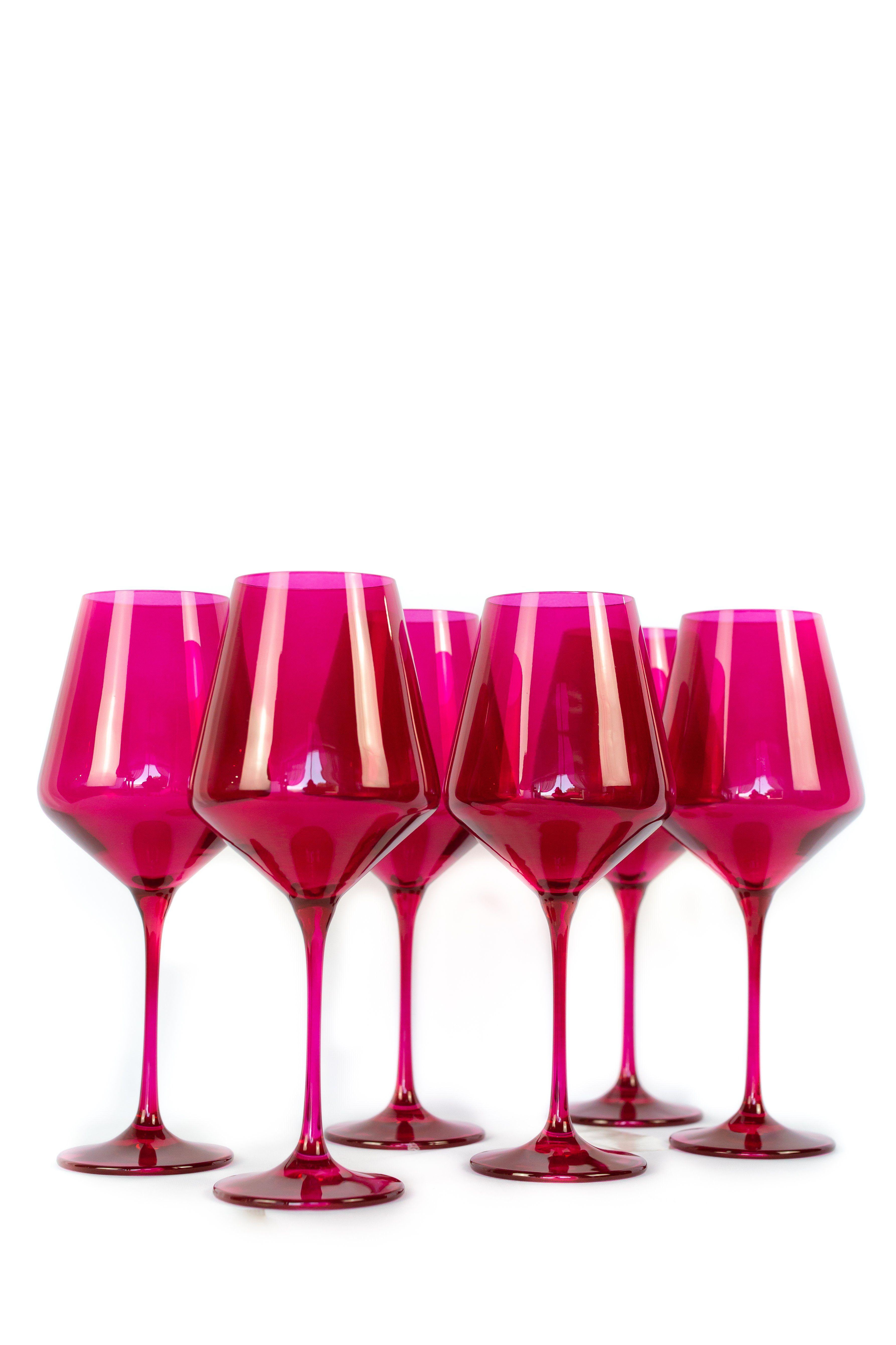 Estelle Colored Wine Stemware Set Of 6 Fuchsia In 2020 Stemware Colored Glass Color