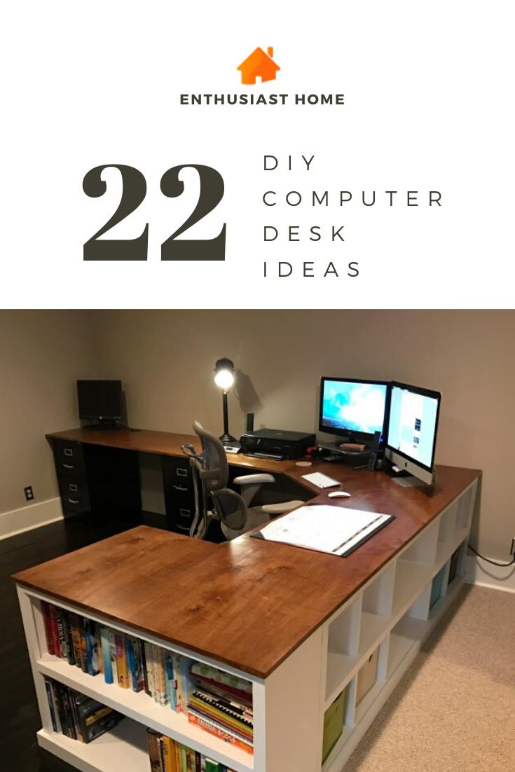 22 Diy Computer Desk Ideas That Make More Spirit Work Enthusiasthome Diy Computer Desk Ideas Diy Computer Desk Computer Desk Organization