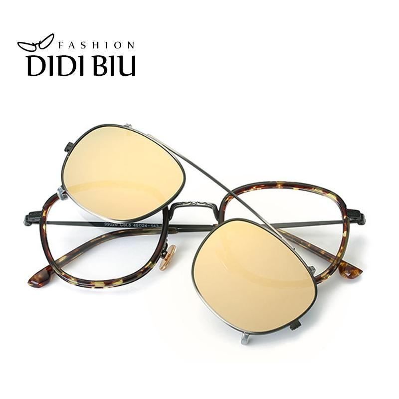 f231b2b385 DIDI Hip Hop Steampunk Clip On Sunglasses Women Men Fit Over Double Lens  Prescription Frames Glasses