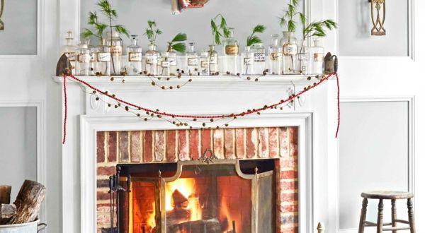 Weihnachtsdeko Wohnzimmer ~ Weihnachtskamin weihnachtsdeko helle schattierungen weihnachten