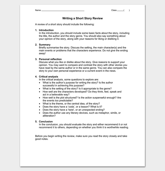Writing Short Story Review Outline  Outline Templates  Create A