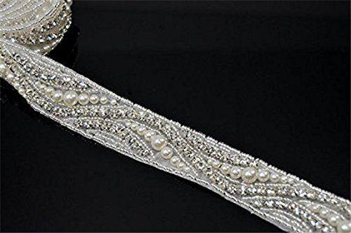 1Yard shiny rhinestone applique wedding sash applique crystal bridal sash belt applique ** Click image for more details.