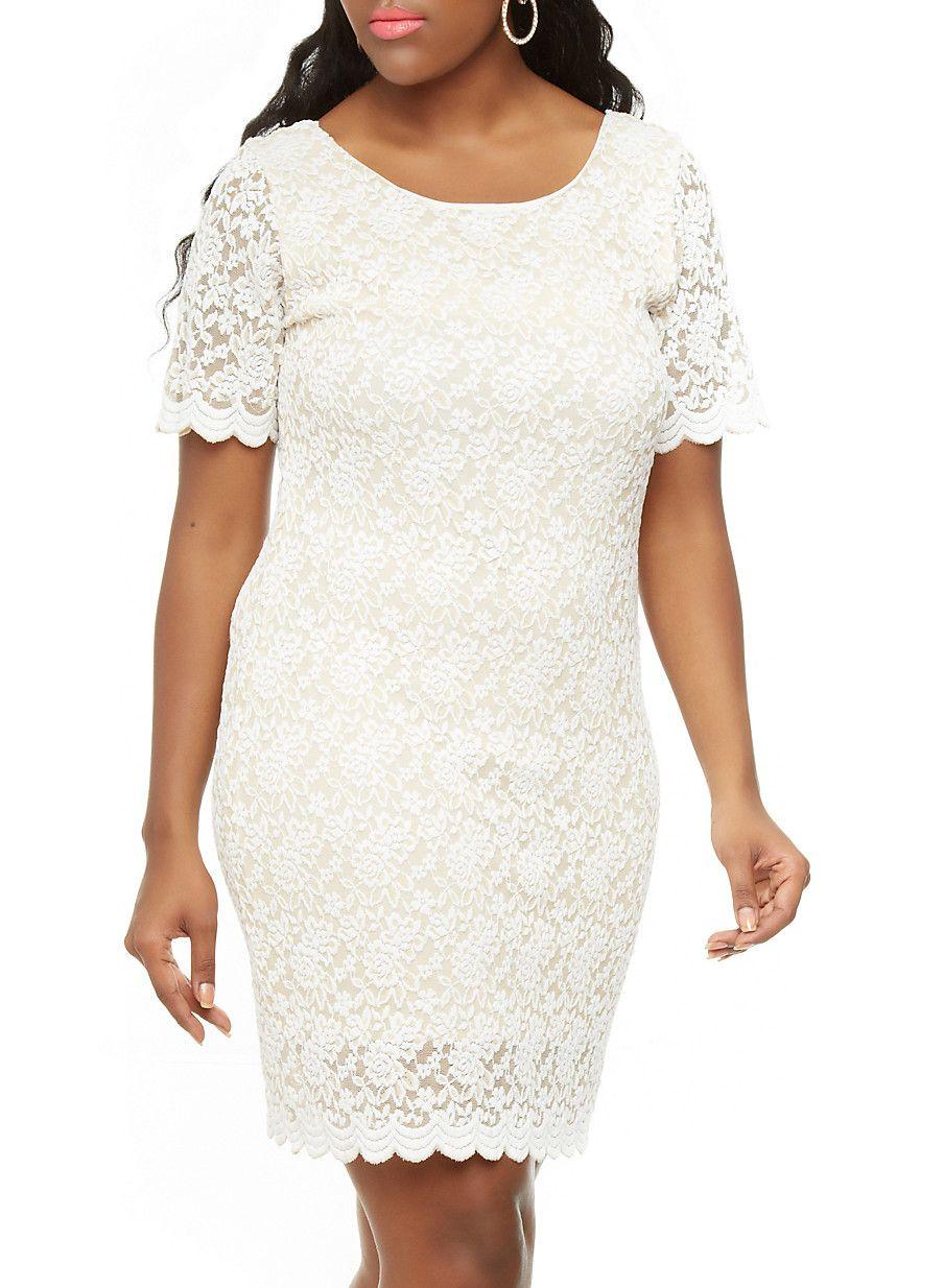 Scoopneck Lace Dress IVORY