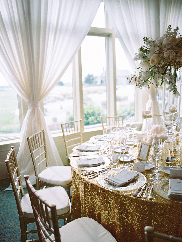 All white and gold wedding decor  Elegant Gold and Blush Southern Wedding  Southern weddings