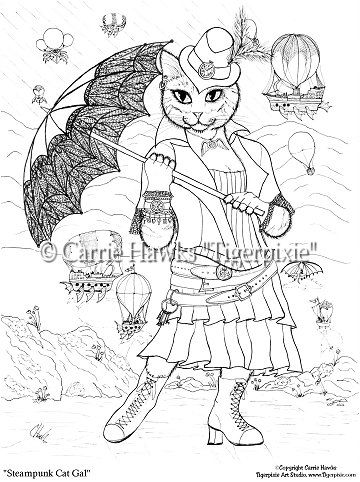 Coloring Page - Steampunk Cat Gal-coloring pages, coloring book ...