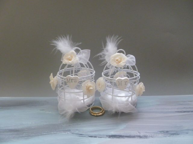 Ivory wedding ring pillow alternative cage bird Ring Bearer MR and