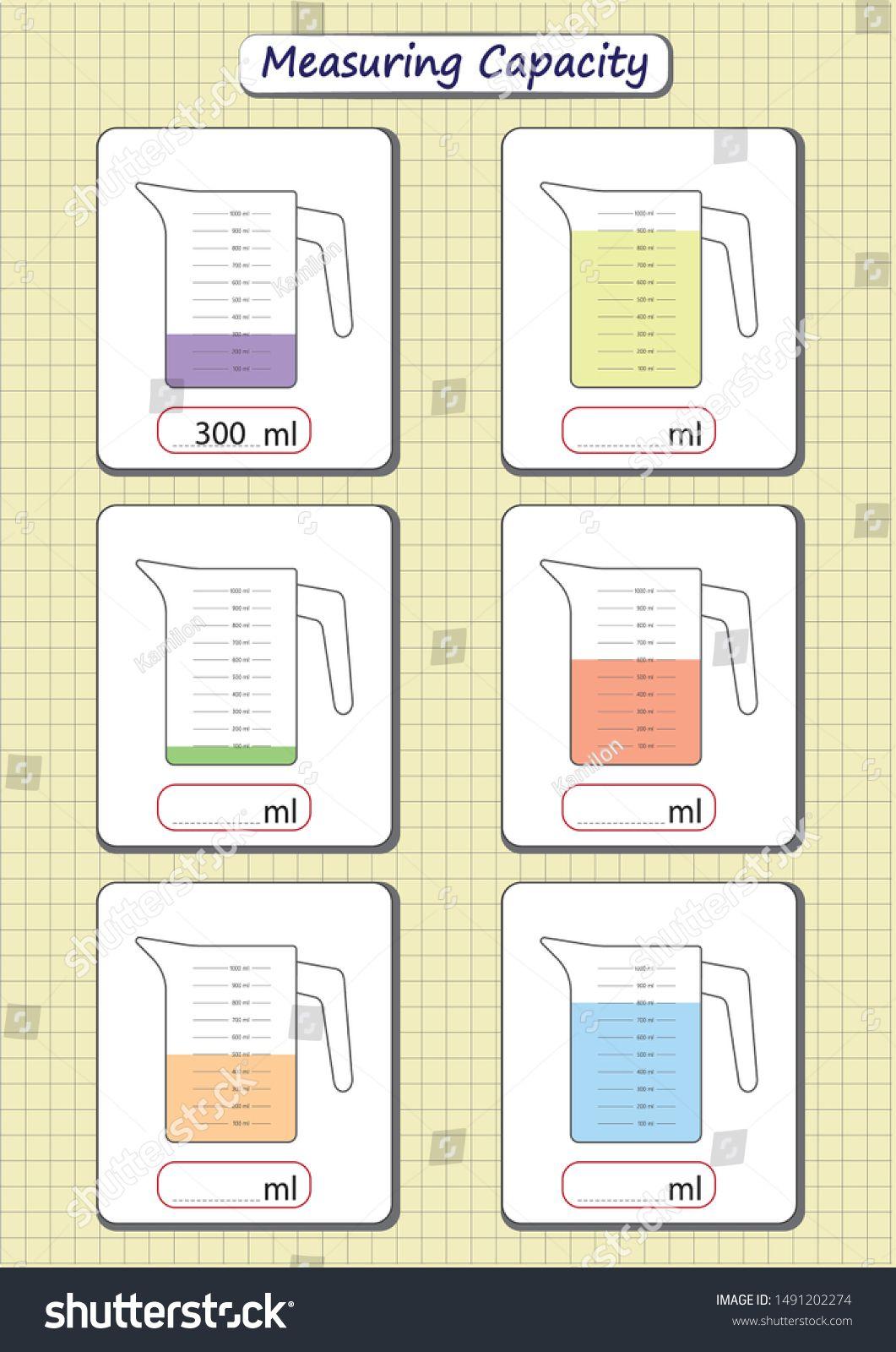 Measuring Capacity Of The Cups Measuring Jugs Worksheet