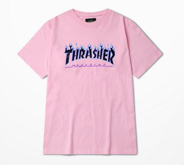 bac5be13671b Thrasher Magazine Blue Flame Logo Pink   Blue T-Shirt from JAKKOUTTHEBXX.  Saved to Shirts. 2016 Thrasher T Shirt Men ...