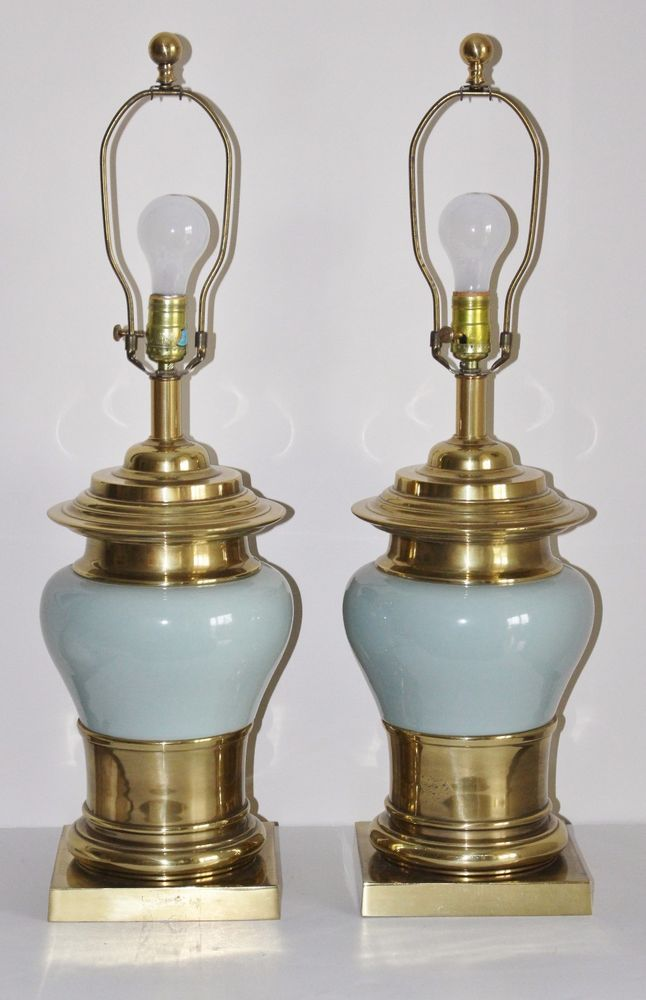 Vintage Pair Brass Green Ceramic Lamps 29 Quot Ginger Jar Urn Style 2 Blue Celadon Ebay Ceramic