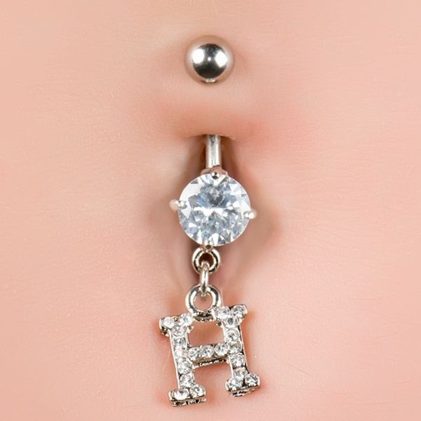 Cz Sparkling Initial H Dangle Belly Button Navel Piercing Ring 14g