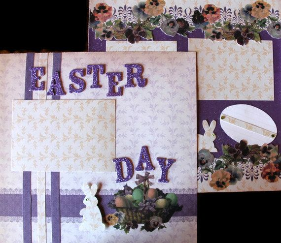 Easter Premade Scrapbooking Pages 12x12 Double Page by scrapavenue, $17.00