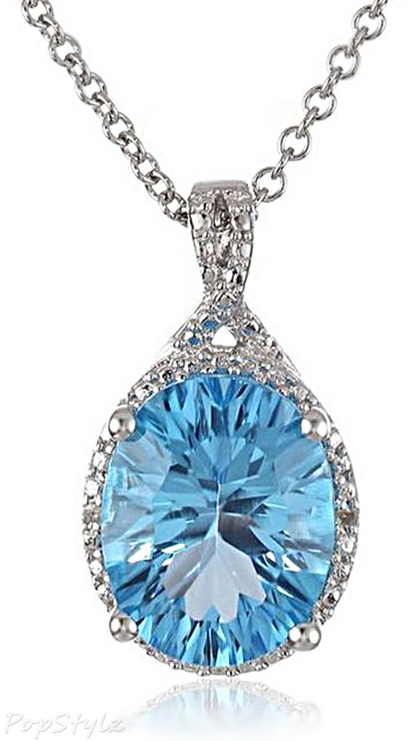 Angara Pear Drop London Blue Topaz and Diamond Necklace in Rose Gold X5bwUvm3m