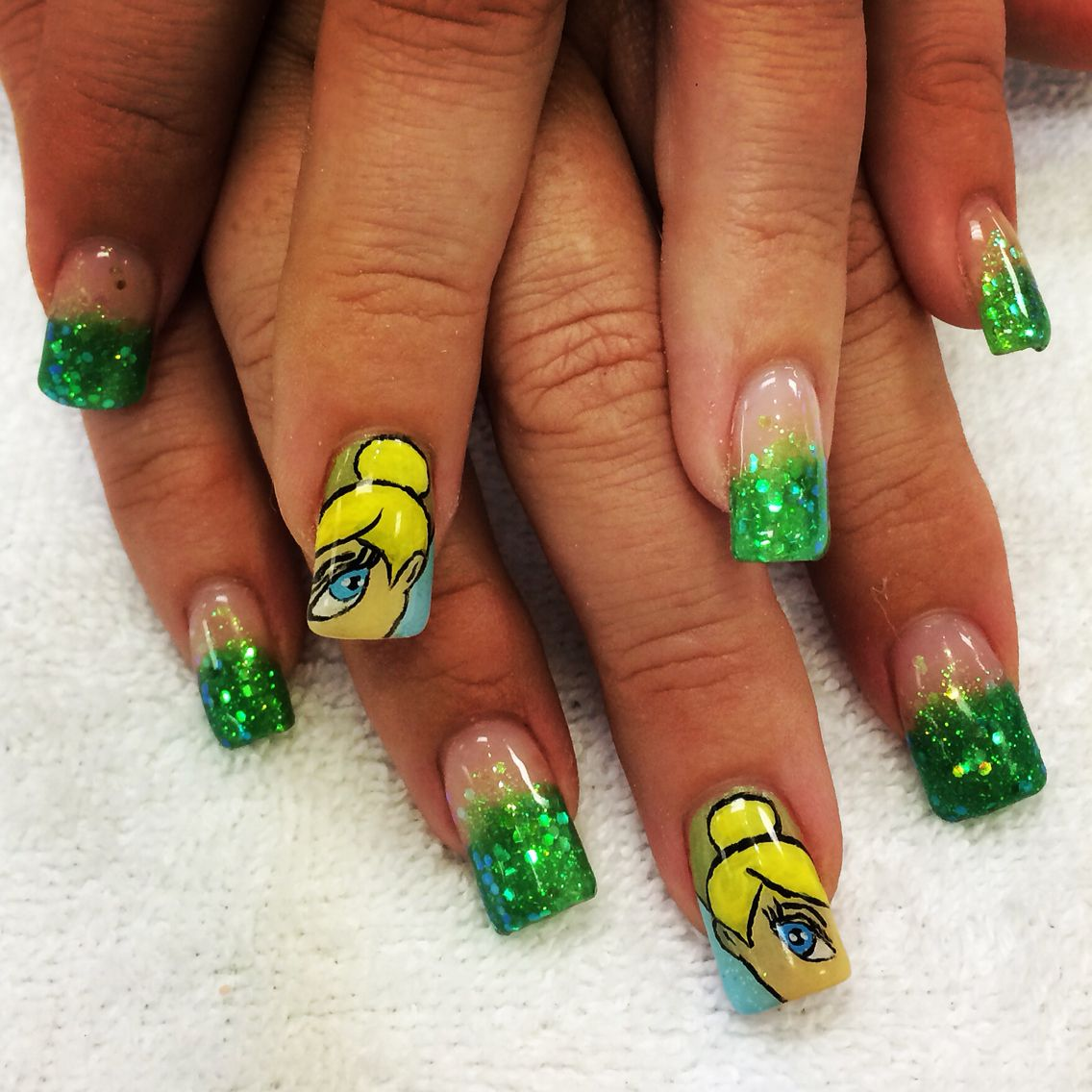 Tinkerbell nail design. Disney themed nail art. | Disney Nail ...