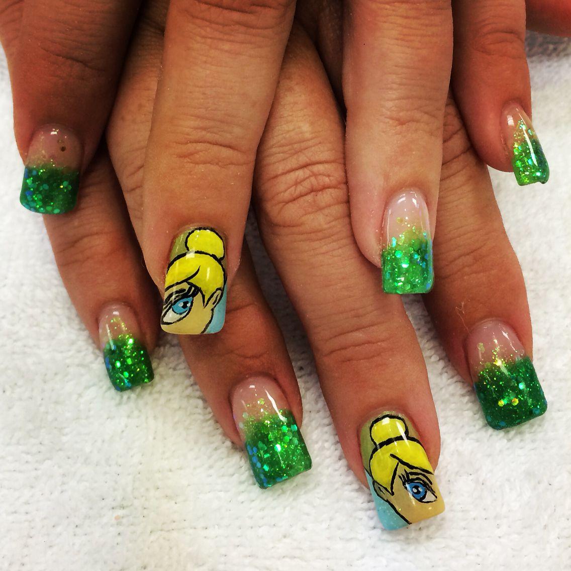 Tinkerbell nail design. Disney themed nail art. | Disney Nail ...