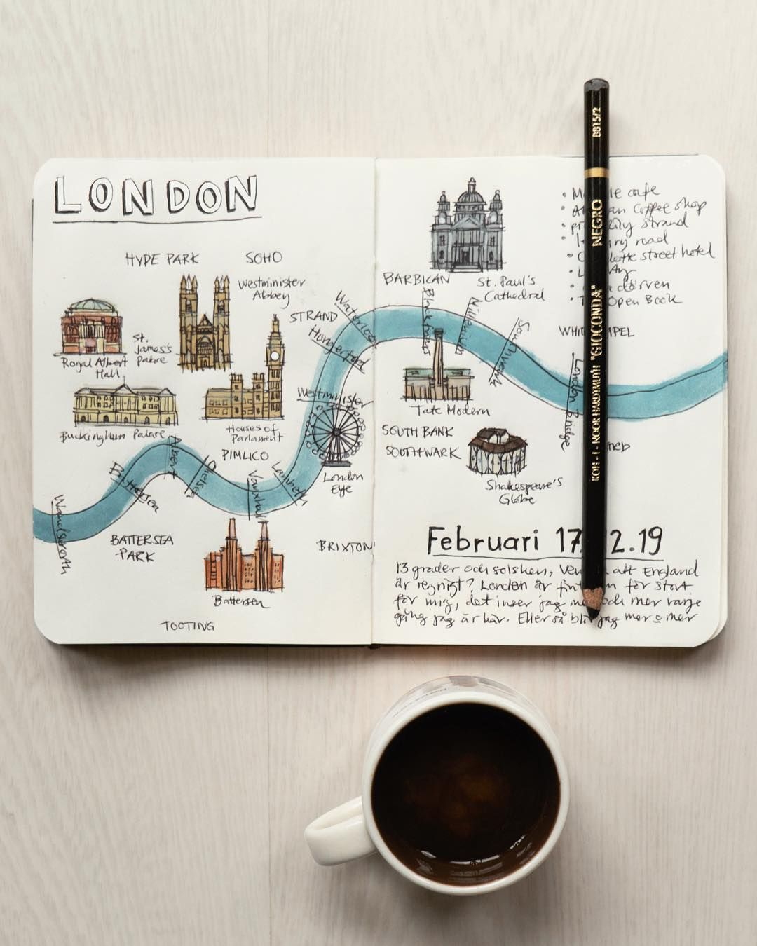 "Julia Hallström Hjort's Instagram profile post: ""The beginning of a travel journal and a probably not so accurate map. What are your favourite places in London? #traveljournal…"""