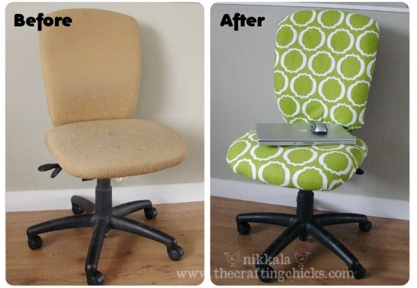 How to reupholster a computer rolling chair.  Fabric, pliers and a staple gun is all you need!  I need to do this in my office! diy