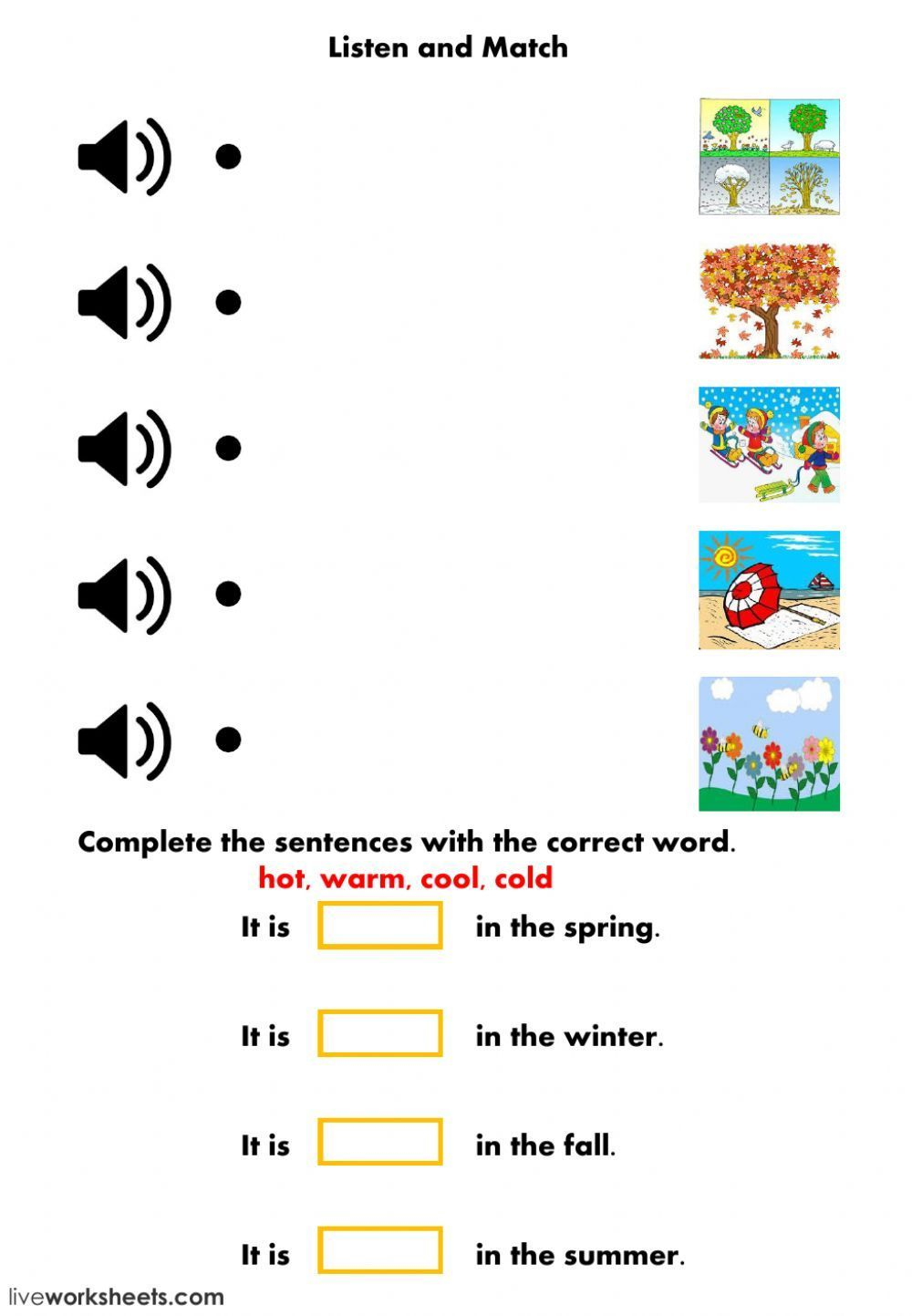 Weather And Seasons Interactive Worksheet Seasons Worksheets English As A Second Language Esl E In 2021 Seasons Worksheets English Worksheets For Kids Teaching Weather