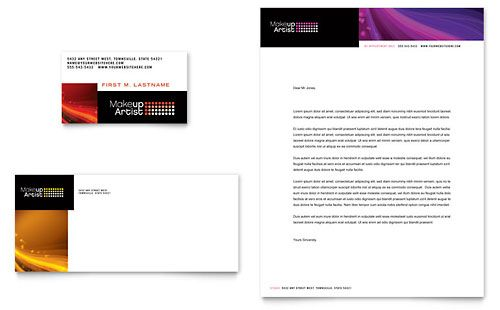 Makeup Artist Business Card \ Letterhead Template by @StockLayouts - real estate business plan template